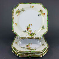 "Empress China Japan Woodmere Salad Plates Square 7.5"" Set of 5 Spring Flowers"