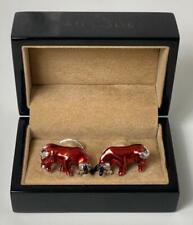 Jan Leslie Sterling Silver Enamel Red Bull Cufflinks