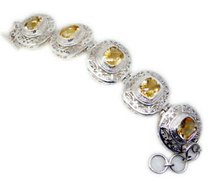 Yellow 925 Sterling Silver Natural pleasing Citrine Designer Bracelet AU gift