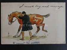 I MUST TRY AND MANAGE Huntsman Mounting Difficult Horse c1903 Raphael Tuck 643,1