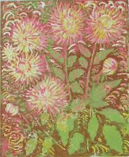 Dahlia Flowers - Original Hand Pressed Linocut Print Ltd Edit