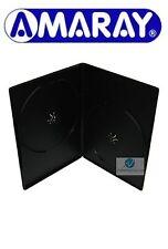 50 DOPPIE NERO CUSTODIA DVD SLIM 7 mm spina ricambio copertura fianco a fianco Amaray