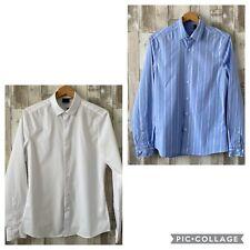 ASOS Mens White & Blue Long Sleeve Shirt Bundle Size Small