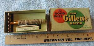 """Rare Vintage """" The Good Will New Gillette Razor """" W/ Original Box & Blades"""