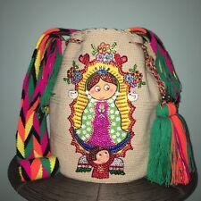 Authentic 100% WAYUU Mochila bag LaRGe our lady of Guadalupe Cartoon Rhinestones