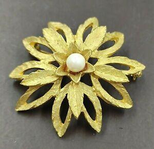 bella spilla vintage americana dorata con perla anni 60 - vtg pearl  brooch