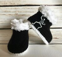 Baby Goth Emo Punk Hand Knitted Crochet Booties Boots Skulls Skeleton 0-12M