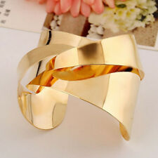 Unisex Gold Crossed Men Women Punk Cuff Geometric Bangle Bracelet Jewelry Gift