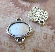 Pack of 4 Antique silver Cabochon Resin Solid Base Setting Bracelet Connector