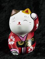 Figura Gato Japonés Bobtail Polyresin-Maneki-Neko-Kimono Rojo Blanco 35 CA5