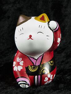 Figurina Gatto Giapponese Bobtail Polyresin-Maneki-Neko-Kimono Rosso Bianco 35