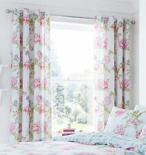 Catherine Lansfield Chrysanthemum Check Eyelet Curtains Duck Egg