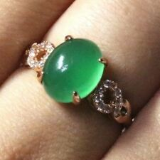 Gorgeous Oval Green Jade Ring Women Wedding Engagement Jewelry Gift Free Ship