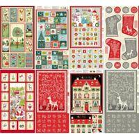 100% Cotton Fabric Makower Advent Calendar Panel Christmas Santa Claus Rudolph