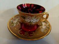Bohemian Czech Ruby Red Glass, Heavy Gold, Enamel Flowers Demitasse & Saucer