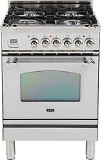 "Ilve UPN60DVGGIX Nostalgie 24"" Gas Range Single Oven Convection Stainless Steel"
