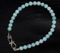 "Blue Opal Gemstone Round Smooth Fine Bracelets 5-10"" Strand NHY525"