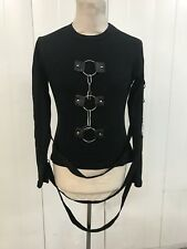 Raven Women's black  Cotton Top With Metal Rings  and straps By SDL Size SM