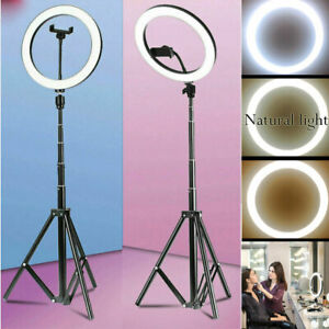 10'' Dimmable LED Ring Light Video Photo Lighting Lamp+1.1m Tripod+Phone Holder