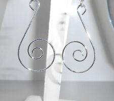 """New  Beautiful  light weight wispy Silver-tone Swirl Dangle Earrings 2-1/2"""" long"""