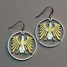 German 5 Mark Silver & 24 k Gold Plated (cut Eagle) Drop/Dangle Coin Earrings