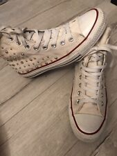 Converse White One Side Studded Shoes Trainers.  Size 7