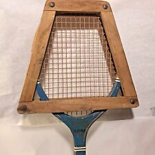 Early Vtg Wooden Spalding FASTPLAY Tennis Racquet w Orignal Wood Press Brace
