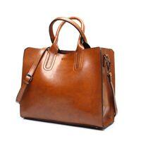 Women Leather Bag Casual Trunk Tote Shoulder Soft Handbags Large Bolsos Zipper