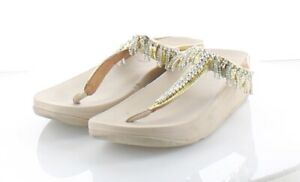 29-30 $100 Women's Sz 7 M US Fitflop Fino Chandelier Thong Leather Sandal - Gold