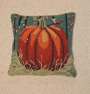 """Peking Handicraft Hooked Wool PUMPKIN Pillow 16"""" x 16"""" Berries Bird LOVELY!!"""