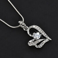 Women Fashion Heart Crystal Rhinestone Silver Chain Pendant Necklace Jewelry  HS