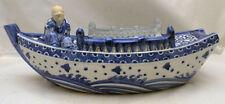 Big Japanese Meiji blue & white Ikebana Vase - Boat