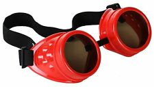 Steampunk Red Cyber Motorcycle Flying Goggles Vintage Pilot Biker