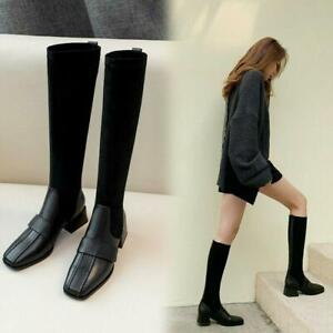 New Women's Round Toe Fashion Block Heels Shoes Pull On Knee High Boots Size