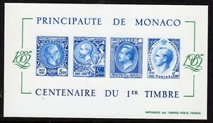 SLANIA ENGRAVED 1985 MONACO STAMP CENTENARY SS DE LUXE PROOF IMPERF MNH