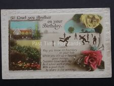 Cricket Theme - BROTHER BIRTHDAY WISHES - Old Postcard