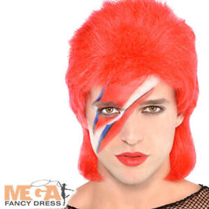 80s Popstar Wig Mens Fancy Dress Ziggy Stardust Bowie Adults Costume Accessory