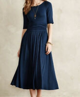 Anthropologie Dress Small Bordeaux Ribbed Navy Blue Midi 4 6 FLAW
