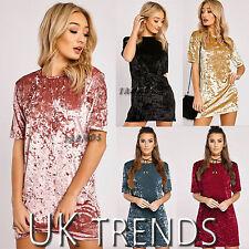UK Womens Crushed Velvet Long T-Shirt Ladies A Line Mini Dress Size 6-14