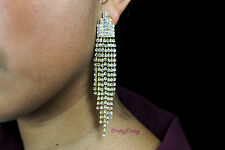 CLIP EARRINGS WEDDING BRIDAL GOLD COLOR CLEAR RHINESTONE DANGLE CHANDELIER