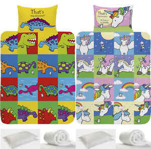 Toddler Bedding Set Junior Duvet & Cover Pillow & Case 4 in 1 Girls Boys Nursery