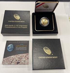 2019 APOLLO 11 50TH ANNIVERSARY GOLD $5 PROOF COIN - BOX & COA COMPLETE