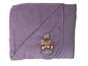 Northpoint Baby Girl Purple CUDDLY Bear Hugs Fleece Blanket Lovey 30x40 Hearts