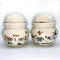 Vintage Salt & Pepper Shakers with Barn and Farm Animals Sheep Pigs 3.5 Inch