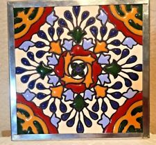 Mexican Talavera Tile Trivet Punch Tin Coaster Hi Relief Tile Hot Plate 6""