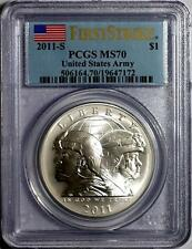 2011 S UNITED STATES ARMY SILVER ONE DOLLAR PCGS FIRST STRIKE MS70