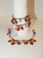 Free People Bracelet Hearts Red Beads Fringe Dangle Set Of 3 Jewelry #122 $54