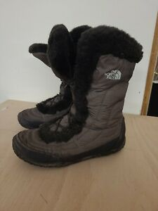 North Face Womens Brown Boots UK Size 6 Quilted Water Resistant Goose Down