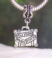 Suitcase Paris New York Tokyo Travel Luggage Dangle Charm for European Bracelets