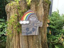 Personalised Rainbow Bridge Memorial Stone Door Dog Paws and Bone Design Garden
